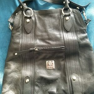 Used Bolotana Leather Crossbody Satchel in black